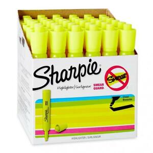 Sharpie Tank Style Highlighters Chisel Tip Fluorescent Yellow Box Of 36