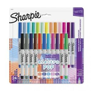Sharpie Electro Pop Permanent Markers Ultra Fine Point Assorted Colors 24