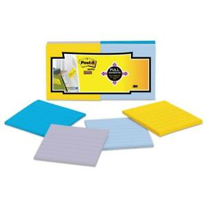 Post it Notes Super Sticky Full Adhesive Notes 3 X 3 Ruled Assorted New