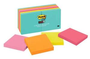 Post it Super Sticky Notes 12 Pack Miami Colletion 3in X