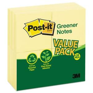Post it Greener Notes Recycled Note Pads 3 X 3 Canary Yellow 100 sheet