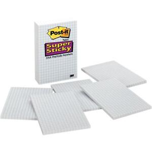 Post it Grid lined Notes 4 In X 6 In White With Blue Grid