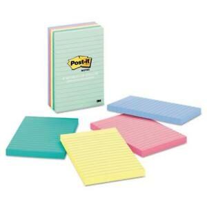 Post it Notes Original Pads In Marseille Colors Lined 4 X 6 100 sheet
