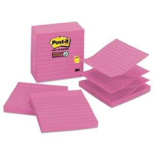 Post it Pop up Notes Super Sticky Refill Lined 4 X 4 Mulberry 90 sheet
