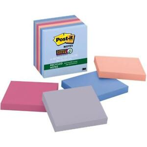 Post it Greener Super Sticky Recycled Notes 6 Pack Bali Collection