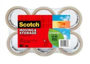 Scotch Greener Long Lasting Moving Storage Packaging Tape 6 Pack Clear