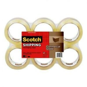 Scotch Commercial Grade Shipping Packaging Tape 6 Pack Clear 1 88 In X