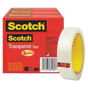 Scotch Transparent Tape 600 72 3pk 1 X 2592 3 Core Transparent 3 pack