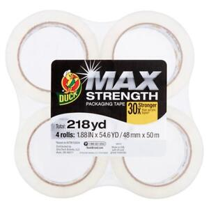 Duck Max Strength Packing Tape 1 88 In X 54 6 Yd Clear 4 count