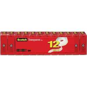 Scotch Transparent Tape 12 Pack 3 4 In X 1000 In 12 Boxes pack