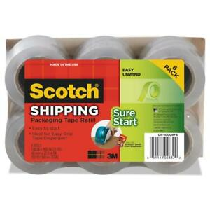 Scotch Sure Start Shipping Packaging Tape 6 Pack 1 88 In X 900 Per Roll
