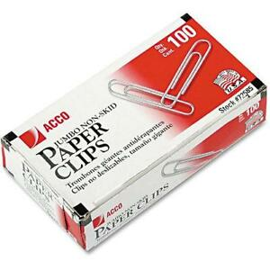 Acco Nonskid Standard Paper Clips Jumbo Silver 100 box 10 Boxes pack