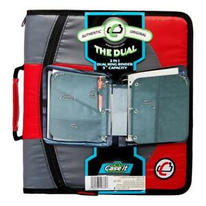 Case it Dual 2 in 1 Zipper D ring Binder 2 Sets Of 1 5 inch Rings Red