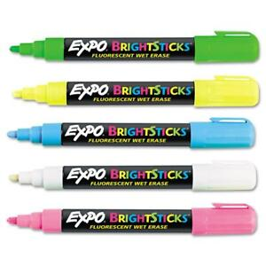 Expo Bright Sticks Wet erase Fluorescent Marker Set Bullet Tip Assorted