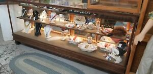 Antique Store Oak Wood Glass Display Case