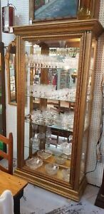 Large Gold Wood Glass Lighted Display Cabinet