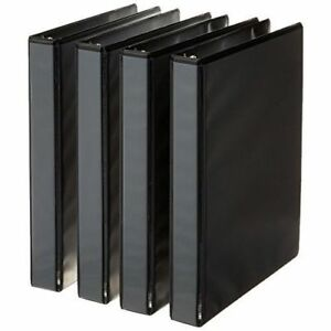 Amazonbasics 3 ring Binder 1 Inch 4 pack black Black 1 inch