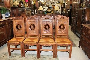 French Antique Carved Oak Brittany Set Of 8 Dining Chairs