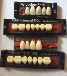 Vivodent Dcl Ortholingual Dcl Ivoclar Vivadent 4 Cards Of Teeth Dental Lab