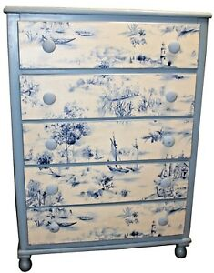 Vintage Shabby Chic French Provincial Style Chest Of Drawers Custom Applique
