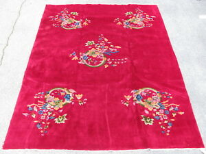 Old Art Deco Chinese Rug Hand Knoted Wool Pile 1930 S Red 8 8x11 3 5783