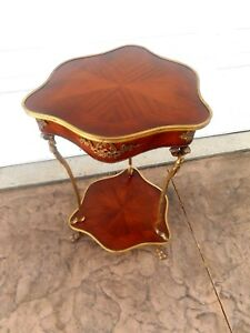 Vintage French Louis Xvi Rococo Style Inlay Wood Brass Side Accent Lamp Table