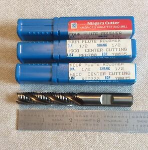 Niagara Coarse Tooth Roughing End Mills Sold In Lot Of 3 Pieces