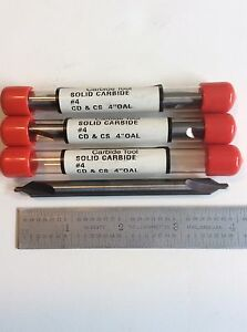 4 Long Series Solid Carbide Combo Center Drills Sold In Lot Of 3 Pieces