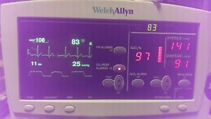 Welch Allyn Series 6200 Vital Signs Monitor Co2 bp Spo2 Ecg Temp printer