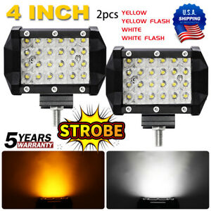 3x3inch Led Work Light Bar Cube Pods Off Road Fog Lamp White Amber Strobe Flash