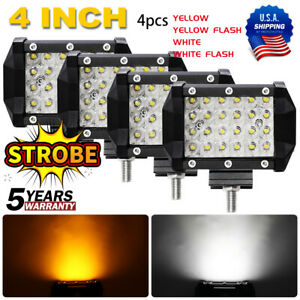 12d 3x3inch Led Work Light Bar Cube Pods Off Road Lamp White Amber Strobe Flash