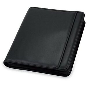 Leather 3 Ring Zipper Binder Portfolio Case Organizer Pockets Tablet Sleeve 1 In