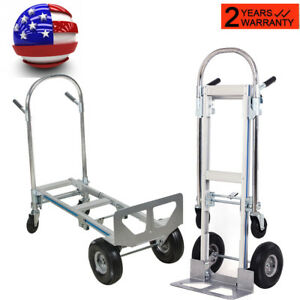2in1 Aluminum Hand Truck 770lbs Convertible Collapsible 2wheel Dolly 4wheel Cart