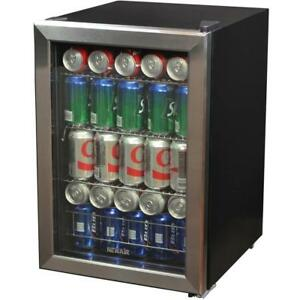 Stainless Steel Beverage Cooler Ab 850 84 can Storage Led Lighting Office Bar Ro