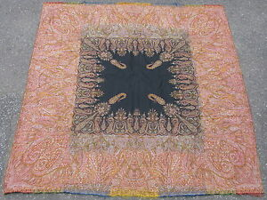 Antique French Textile Paisley Shawl Jacquard Loom Wool Mid 19thc 68x69in 8144
