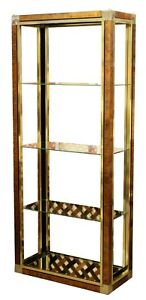 Mid Century Modern Mastercraft Brass Glass Etagere Shelving Unit 1970s 3 Shelf