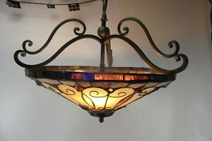 16 Diameter Decorative Faux Stained Glass Hanging Lamp