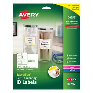 Avery Labels Self Laminating Id 2 5 16 In X 3 5 16 In White Pack Of 100