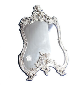 Vtg American Sterling Silver Vanity Table Top Mirror Raised Cherubs Florals