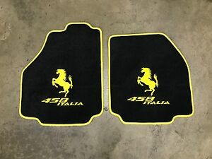 Ferrari 458 Italia Custom Car Floor Mats Yellow Logo And Yellow Edging Carpet