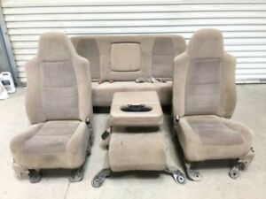 01 04 Ford F250 Super Duty Crew Cab Front Rear Power Cloth Seats W Console Tan