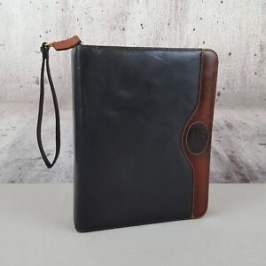Franklin Covey Quest Classic Two tone Black Woodman Leather 7 Ring Binder