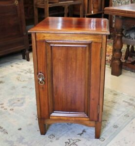 Mahogany Wood Small Antique Single Door Cabinet Nightstand W 1 Drawer 2 Shelves