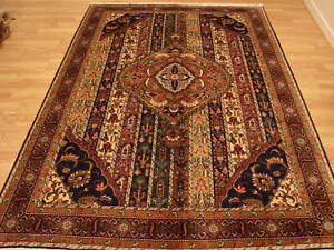 Antique Persian Handmade Wool Shahsavan Ardabil Stripes Red Brown Gold Rug 7x10