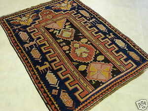 Antique Exotic Shirvan Rug Handmade Prayer Design 1 Directional Blue Orange 3x5