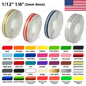 1 2 Roll Vinyl Pinstriping Pin Stripe Double Line Car Tape Decal Stickers 12mm