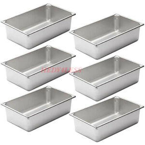 6set Full Size Silver Stainless Steel Steam Table 6 Deep Spillage Water Pan