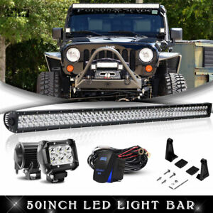 07 2017 Jeep Wrangler Jk 50 Inch Led Light Bar mount Bracket 4 Lamps wiring Kit