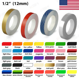 12 Roll Vinyl Pinstriping Pin Stripe Solid Line Car Tape Decal Stickers 12mm