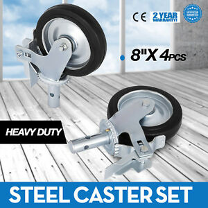 Set Of 4 Scaffold 8x2 Black Mold on Steel Caster Wheel With Brake